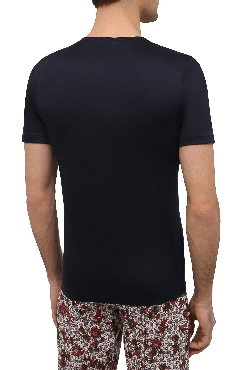 Мужская хлопковая футболка ZIMMERLI темно-синего цвета, арт. 286-1442 | Фото 4 (Кросс-КТ: домашняя одежда; Рукава: Короткие; Длина (для топов): Стандартные; Материал внешний: Хлопок; Мужское Кросс-КТ: Футболка-белье)