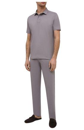 Мужские хлопковые домашние брюки ZIMMERLI серого цвета, арт. 1357-21143 | Фото 2 (Материал внешний: Хлопок; Длина (брюки, джинсы): Стандартные; Кросс-КТ: домашняя одежда; Мужское Кросс-КТ: Брюки-белье)