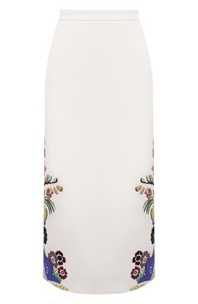 Женская хлопковая юбка VALENTINO белого цвета, арт. VB3RA7G075Y | Фото 1