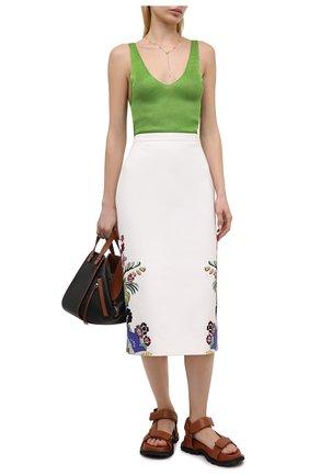 Женская хлопковая юбка VALENTINO белого цвета, арт. VB3RA7G075Y | Фото 2