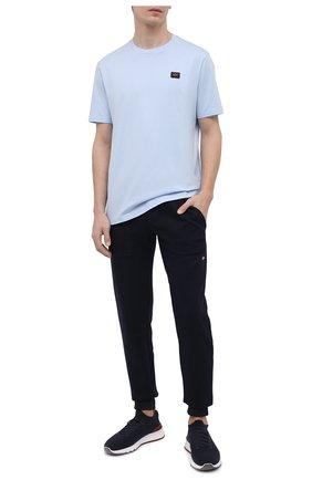 Мужские хлопковые джоггеры PAUL&SHARK темно-синего цвета, арт. 21411880/HPW   Фото 2 (Длина (брюки, джинсы): Стандартные; Материал внешний: Хлопок; Силуэт М (брюки): Джоггеры; Стили: Спорт-шик; Мужское Кросс-КТ: Брюки-трикотаж)