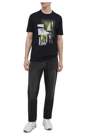 Мужская хлопковая футболка PAUL&SHARK черного цвета, арт. 21411105/C00 | Фото 2