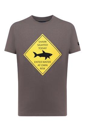 Мужская хлопковая футболка PAUL&SHARK серого цвета, арт. 21411074/C00   Фото 1