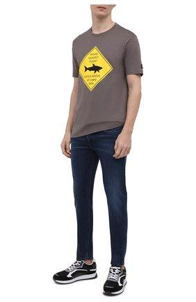 Мужская хлопковая футболка PAUL&SHARK серого цвета, арт. 21411074/C00   Фото 2