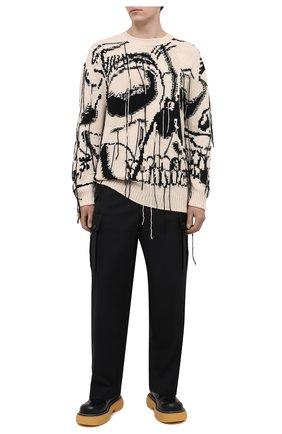 Мужские шерстяные брюки-карго LOEWE черного цвета, арт. H526Y04W04 | Фото 2