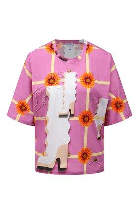 Женская хлопковая футболка LOEWE розового цвета, арт. S540Y22X10 | Фото 1