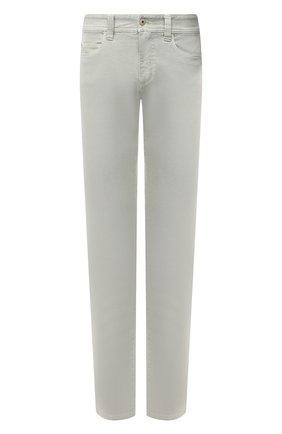 Мужские джинсы LORO PIANA салатового цвета, арт. FAG1329 | Фото 1 (Длина (брюки, джинсы): Стандартные; Материал внешний: Хлопок; Силуэт М (брюки): Прямые; Стили: Кэжуэл; Кросс-КТ: Деним)
