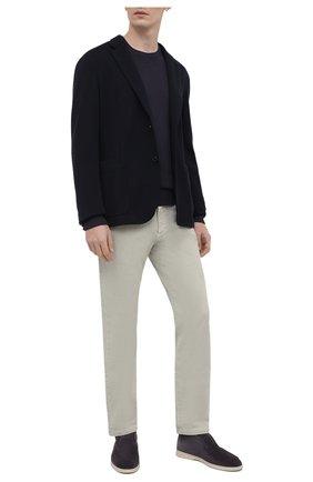 Мужские джинсы LORO PIANA салатового цвета, арт. FAG1329 | Фото 2 (Длина (брюки, джинсы): Стандартные; Материал внешний: Хлопок; Силуэт М (брюки): Прямые; Стили: Кэжуэл; Кросс-КТ: Деним)