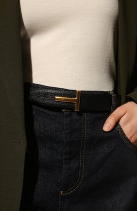 Женский кожаный ремень TOM FORD черного цвета, арт. WB207TN-LCL156 | Фото 2 (Материал: Кожа)