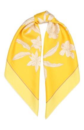Женский шелковый платок LORO PIANA желтого цвета, арт. FAL6213   Фото 1 (Материал: Текстиль, Шелк; Принт: С принтом)