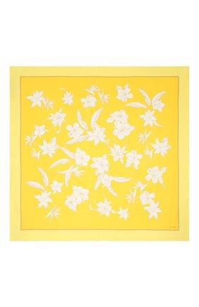 Женский шелковый платок LORO PIANA желтого цвета, арт. FAL6213   Фото 2 (Материал: Текстиль, Шелк; Принт: С принтом)