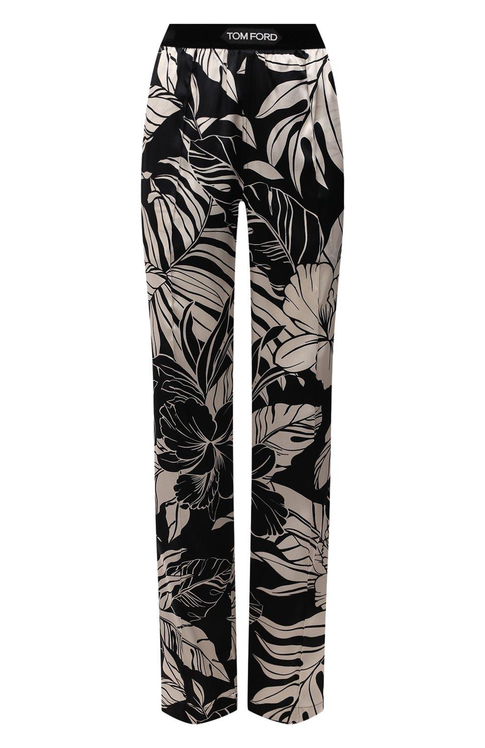 Женские шелковые брюки TOM FORD черно-белого цвета, арт. PAW398-FAP151   Фото 1
