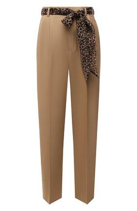 Женские шерстяные брюки SAINT LAURENT бежевого цвета, арт. 648142/Y7B73 | Фото 1