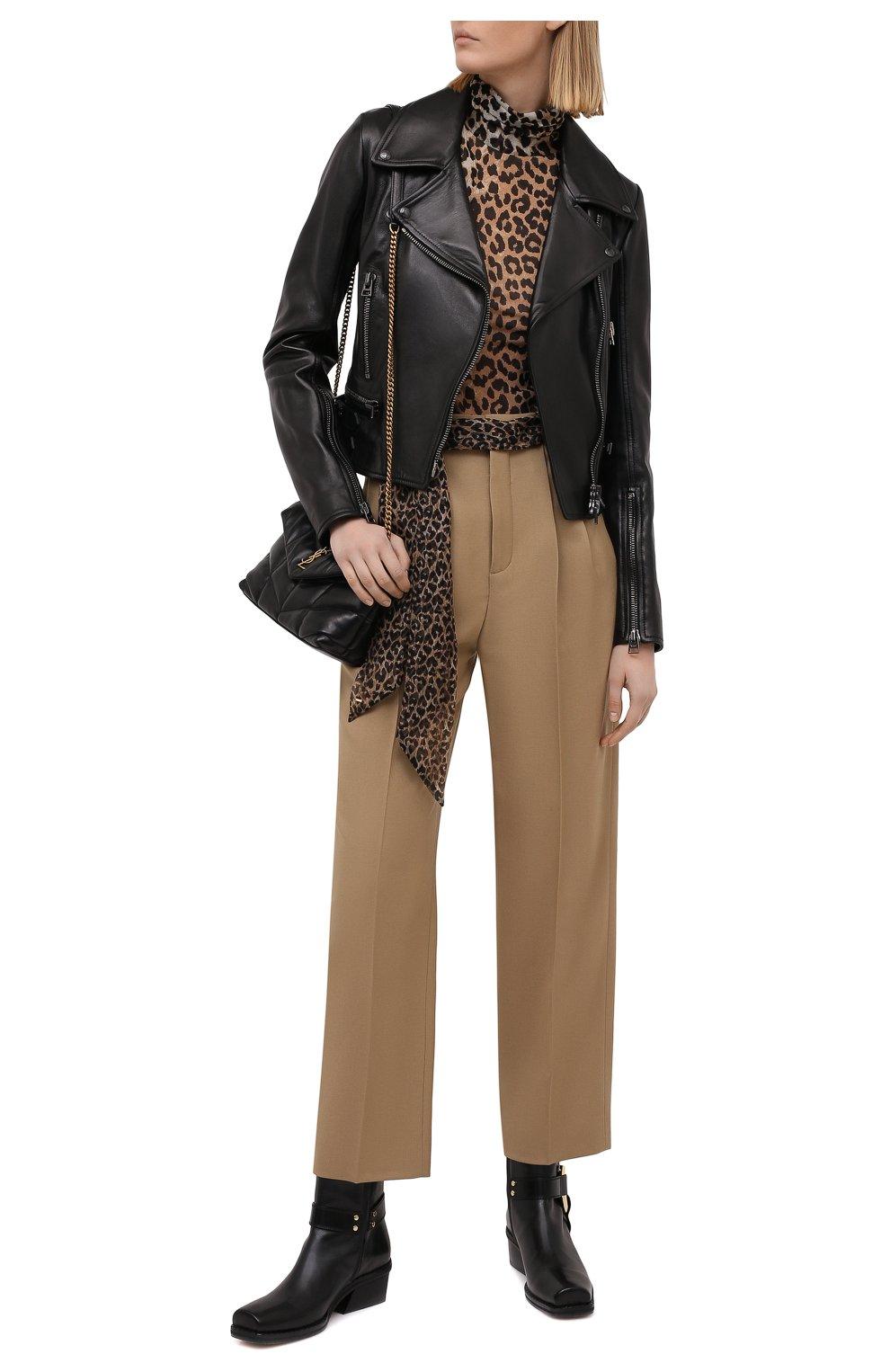 Женские шерстяные брюки SAINT LAURENT бежевого цвета, арт. 648142/Y7B73 | Фото 2