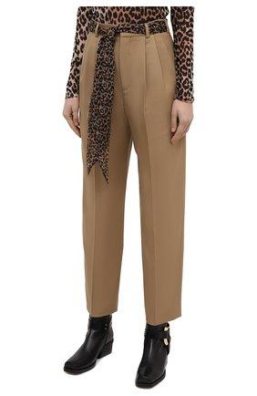 Женские шерстяные брюки SAINT LAURENT бежевого цвета, арт. 648142/Y7B73 | Фото 3