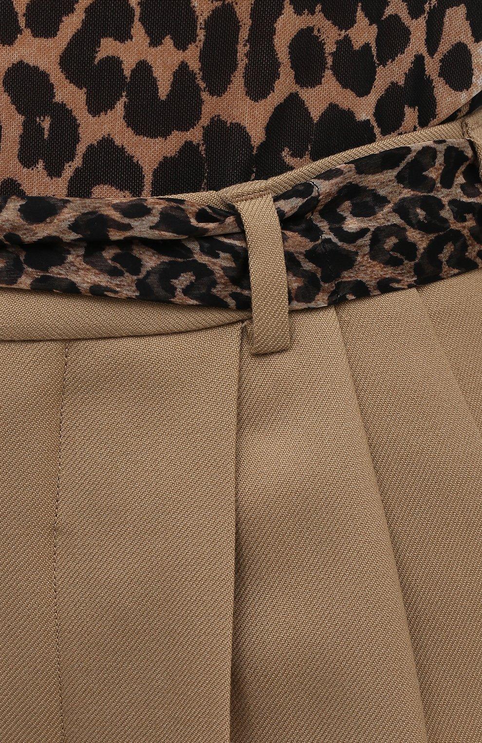 Женские шерстяные брюки SAINT LAURENT бежевого цвета, арт. 648142/Y7B73 | Фото 5