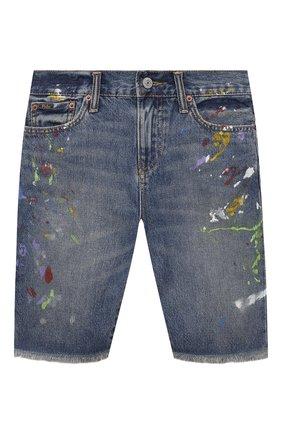 Детские джинсовые шорты POLO RALPH LAUREN синего цвета, арт. 323832733 | Фото 1 (Материал внешний: Хлопок; Ростовка одежда: 10 - 11 лет | 140 - 146см, 13 - 15 лет | 158 см)