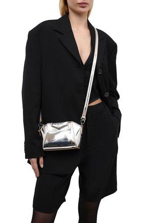 Женская сумка antigona nano GIVENCHY серебряного цвета, арт. BBU017B10N   Фото 2 (Материал: Текстиль, Экокожа; Размер: small; Ремень/цепочка: На ремешке; Сумки-технические: Сумки через плечо)