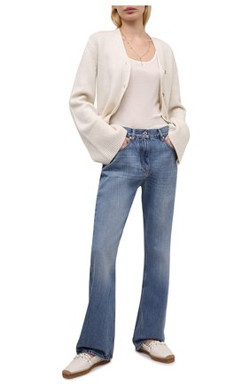 Женские кожаные эспадрильи dru JIMMY CHOO белого цвета, арт. DRU FLAT/ABH | Фото 2 (Материал внутренний: Натуральная кожа; Подошва: Платформа)