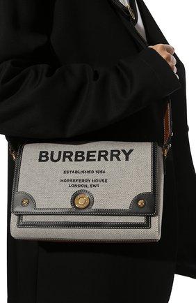 Женская сумка note medium BURBERRY серого цвета, арт. 8039863 | Фото 2 (Ремень/цепочка: На ремешке; Материал: Текстиль; Размер: medium; Сумки-технические: Сумки через плечо)