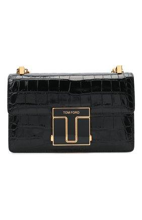 Женская сумка 001 medium TOM FORD черного цвета, арт. L1385E-LCL150   Фото 1 (Материал: Натуральная кожа; Сумки-технические: Сумки через плечо; Ремень/цепочка: С цепочкой, На ремешке)