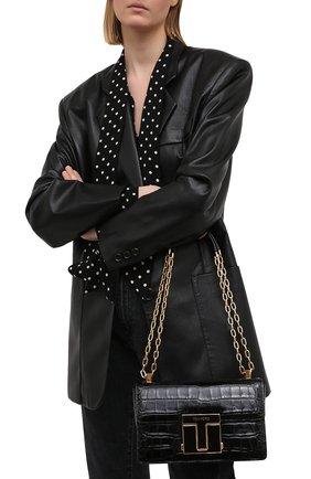 Женская сумка 001 medium TOM FORD черного цвета, арт. L1385E-LCL150   Фото 2 (Материал: Натуральная кожа; Сумки-технические: Сумки через плечо; Ремень/цепочка: С цепочкой, На ремешке)