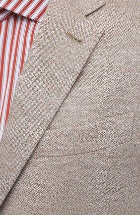 Мужской пиджак изо льна и хлопка ERMENEGILDO ZEGNA светло-бежевого цвета, арт. UWC69/SDF | Фото 5 (Рукава: Длинные; Случай: Повседневный; Длина (для топов): Стандартные; Материал внешний: Хлопок, Лен; 1-2-бортные: Однобортные; Материал подклада: Хлопок; Пиджаки М: Приталенный; Стили: Кэжуэл)