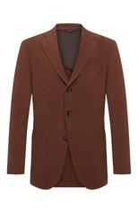 Мужской льняной пиджак LORO PIANA коричневого цвета, арт. FAL6242 | Фото 1