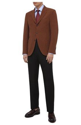 Мужской льняной пиджак LORO PIANA коричневого цвета, арт. FAL6242 | Фото 2 (Материал подклада: Купро; Материал внешний: Лен; Рукава: Длинные; Длина (для топов): Стандартные; Пиджаки М: Приталенный; Стили: Кэжуэл; 1-2-бортные: Однобортные; Случай: Повседневный)