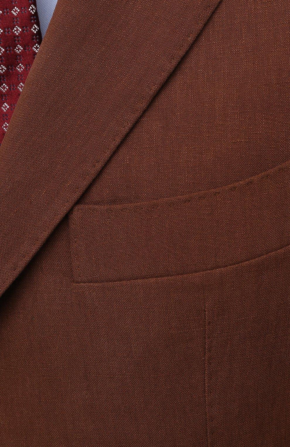 Мужской льняной пиджак LORO PIANA коричневого цвета, арт. FAL6242   Фото 5 (Рукава: Длинные; Случай: Повседневный; Длина (для топов): Стандартные; 1-2-бортные: Однобортные; Материал внешний: Лен; Пиджаки М: Приталенный; Материал подклада: Купро; Стили: Кэжуэл)