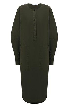 Женское хлопковое платье JW ANDERSON хаки цвета, арт. DR0157 PG0463 | Фото 1