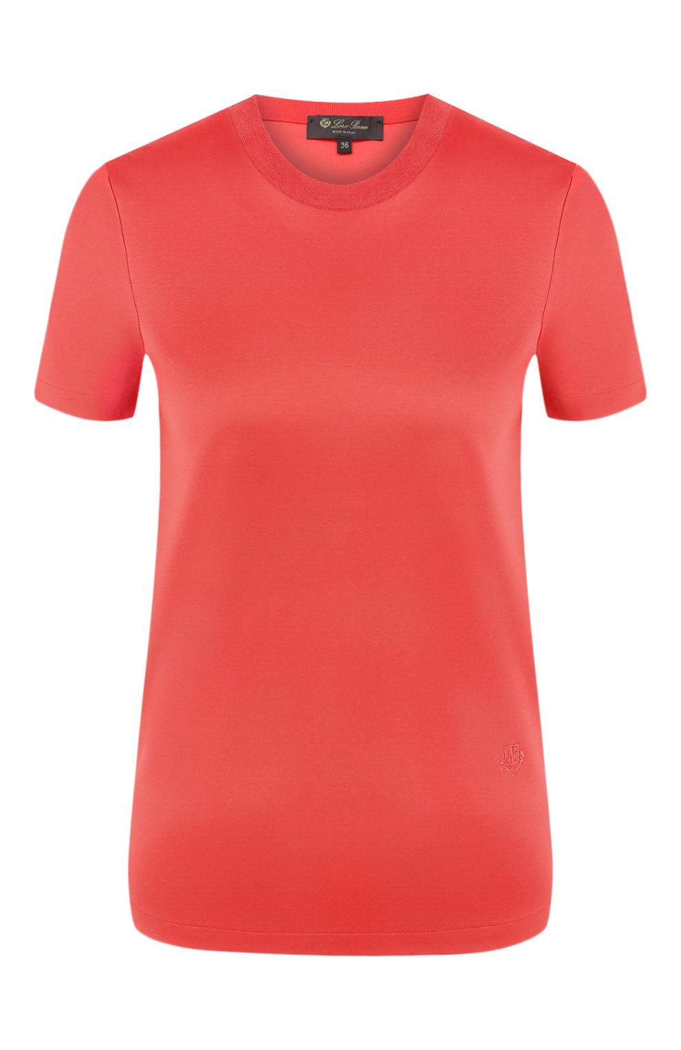 Женская хлопковая футболка LORO PIANA красного цвета, арт. FAI5069   Фото 1