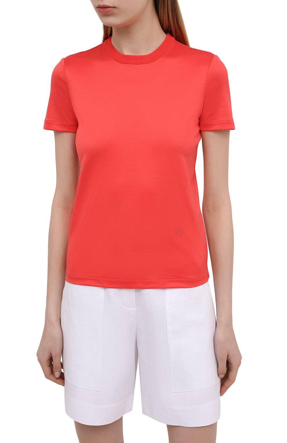 Женская хлопковая футболка LORO PIANA красного цвета, арт. FAI5069   Фото 3