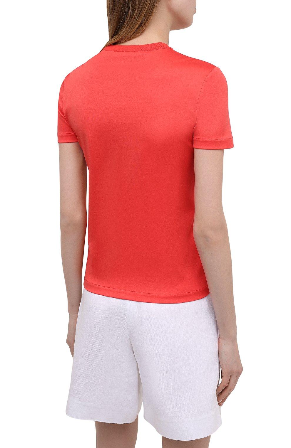 Женская хлопковая футболка LORO PIANA красного цвета, арт. FAI5069   Фото 4