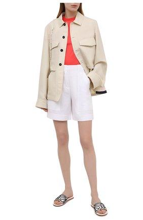 Женские льняные шорты LORO PIANA белого цвета, арт. FAL0703 | Фото 2