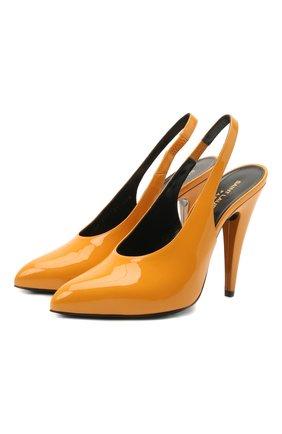 Женские кожаные туфли venus SAINT LAURENT желтого цвета, арт. 637731/1TV00   Фото 1