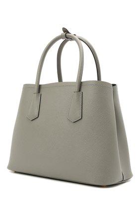 Женская сумка PRADA серого цвета, арт. 1BG887-2A4A-F01T3-OOO | Фото 2 (Ремень/цепочка: На ремешке; Размер: small; Материал: Натуральная кожа; Сумки-технические: Сумки через плечо, Сумки top-handle)
