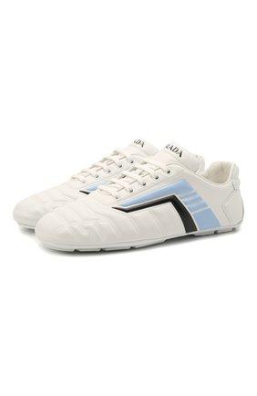Женские кожаные кроссовки rev PRADA белого цвета, арт. 1E505M-A21-F0AZ1-D010 | Фото 1