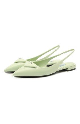 Женские кожаные балетки PRADA светло-зеленого цвета, арт. 1F639M-055-F0934-010 | Фото 1