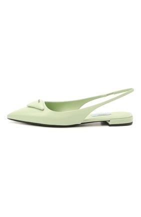 Женские кожаные балетки PRADA светло-зеленого цвета, арт. 1F639M-055-F0934-010 | Фото 2