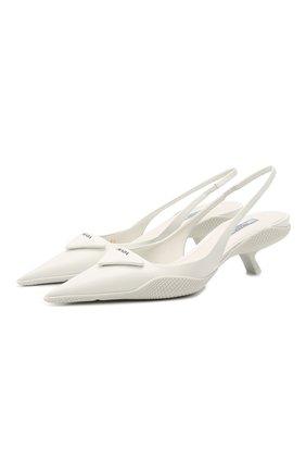 Женские кожаные туфли PRADA белого цвета, арт. 1I565M-055-F0009-A045 | Фото 1