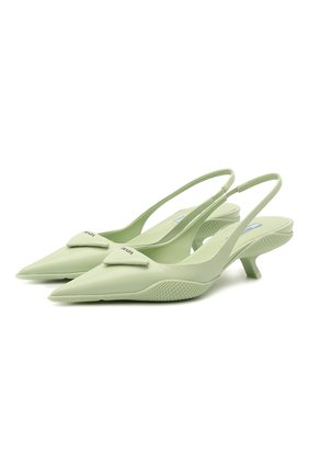Женские кожаные туфли PRADA светло-зеленого цвета, арт. 1I565M-055-F0934-A045 | Фото 1