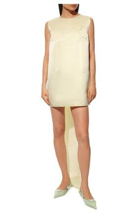 Женские кожаные туфли PRADA светло-зеленого цвета, арт. 1I565M-055-F0934-A045 | Фото 2