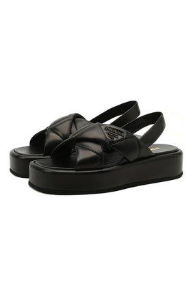 Женские кожаные сандалии fussbett PRADA черного цвета, арт. 1XZ749-038-F0002-035 | Фото 1