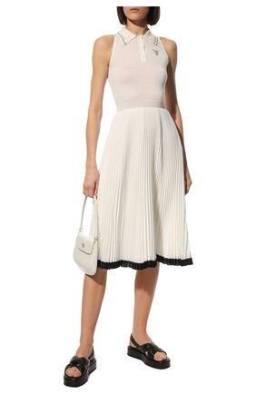 Женские кожаные сандалии fussbett PRADA черного цвета, арт. 1XZ749-038-F0002-035 | Фото 2
