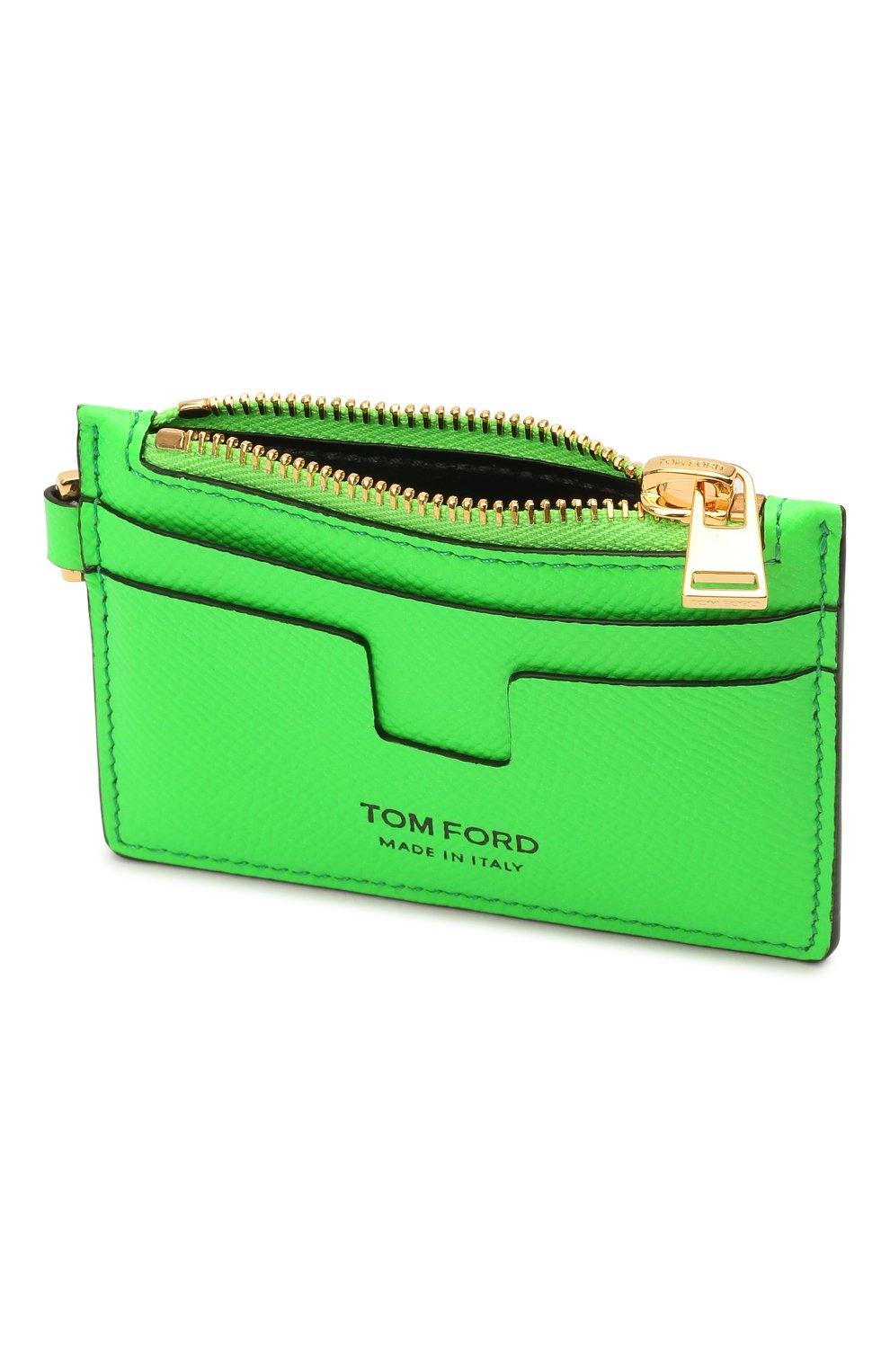 Мужской кожаный футляр для кредитных карт TOM FORD зеленого цвета, арт. Y0310T-LCL143 | Фото 3