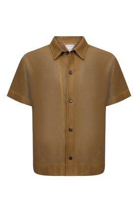 Мужская кожаная рубашка BOTTEGA VENETA светло-коричневого цвета, арт. 647064/V0IT0 | Фото 1 (Материал внешний: Кожа; Длина (для топов): Стандартные; Рукава: Короткие; Случай: Повседневный; Стили: Минимализм; Принт: Однотонные; Воротник: Кент)