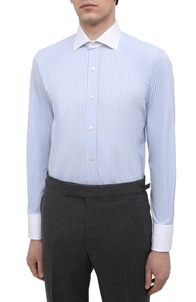 Мужская хлопковая сорочка TOM FORD голубого цвета, арт. 9FT283/94SWAX | Фото 3