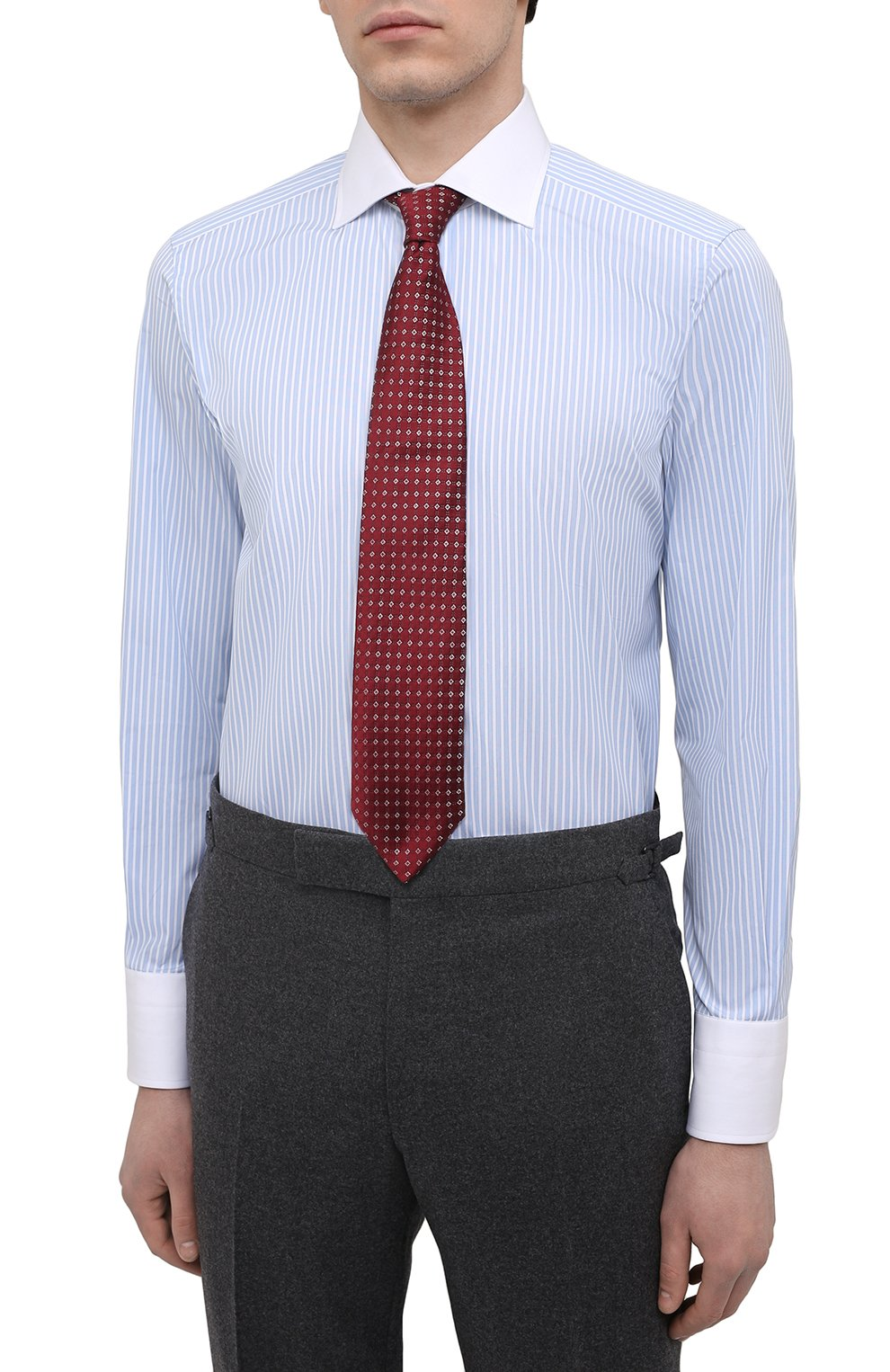 Мужская хлопковая сорочка TOM FORD голубого цвета, арт. 9FT283/94SWAX | Фото 4
