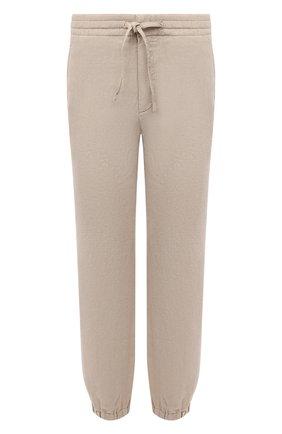 Мужские льняные джоггеры Z ZEGNA бежевого цвета, арт. VU160/ZZ346 | Фото 1 (Материал внешний: Лен; Длина (брюки, джинсы): Стандартные; Силуэт М (брюки): Джоггеры; Стили: Спорт-шик)